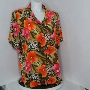 Kaktus colorful short sleeve blouse size 3X